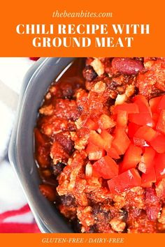 This easy gluten-free chili recipe can be made in a slow cooker or crockpot, or on the stovetop. | Gluten Free Recipe | Dairy Free Recipe | Slow Cooker Recipe | Chili Recipe | Main Dish | Easy Gluten Free Chili Recipe, Dairy Free Recipes Slow Cooker, Bean Recipes, Chili Recipes, Chickpea Recipes, Vegetarian Recipes, Chili Toppings, Ground Meat Recipes, Chili Seasoning