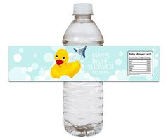 Rubber Ducky Baby Shower Water Bottle Label
