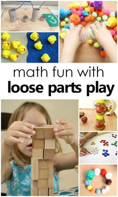 Math and Loose Parts Play-hands-on learning and math skills with loose parts play for preschool and kindergarten - Education and lifestyle Numeracy Activities, Math Activities For Kids, Preschool Curriculum, Creative Activities, Preschool Learning, Kindergarten Activities, Fun Math, Teaching Math, Math Games For Preschoolers