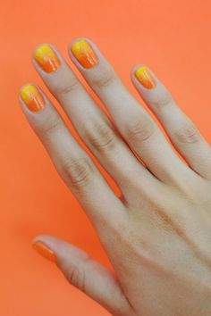 Fiery yellow & orange Summer nails