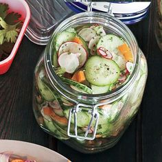 Lemony Cucumber Salad Recipe - fresh, vibrant and crunchy, this easy salad will get gobbled up quickly. Omit the olive oil for Phase 1 and Phase 2.