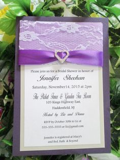 Rhinestone heart satin and lace bridal shower invitation layered, custom hand made by EmptyNestCards on Etsy