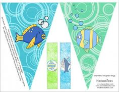 free printables under the sea birthday banner napkin rings