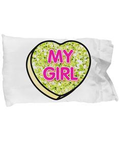 My Girl Glitter Candy Heart on Standard Pillowcase
