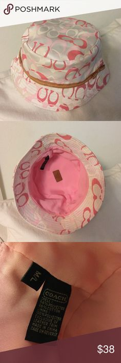 Coach hat Coach Signature Bucket Hat in pink with leather trim. EUC. Size M/L Coach Accessories Hats