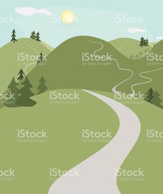 hill roads landscape royalty-free stock vector art