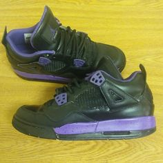 Black & Violet 4s (Customs) Have some wear and tear. Also  wrinkling at the toe.   Size 7y , 100% authentic. NEED GONE NOW!! Jordan Shoes