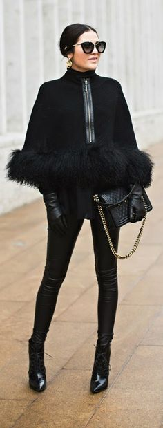 """all black everything - Nanette Lepore """"Captivating"""" cape in ribbed knit with black leather skinny and chanel handbag and classic booties / Pink Peonies"""