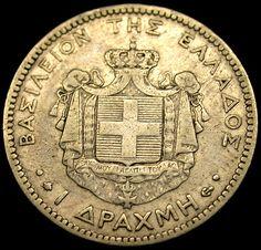 1873 A Greece SILVER DRACHMA Super Rare Key Date Silver Old World Coin NICE!