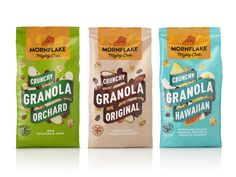 Creative Agency: B&B studio Project Type: Produced, Commercial Work Client: Mornflake Location: UK Packaging Contents: Cereal Establi. Cereal Packaging, Cool Packaging, Kraft Packaging, Plastic Packaging, Beverage Packaging, Packaging Ideas, Label Design, Branding Design, Package Design