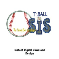 DD T-BALL SISTER Applique and Embroidery - Machine Embroidery Design - 4x4 and 5x4 Hoops - Instant Download. $4.00, via Etsy.