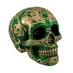 Green Skull with Metallic Gold Celtic Knotwork Statue Pagan