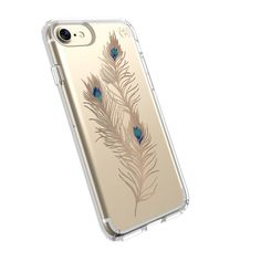 PRESIDIO CLEAR + PRINT IPHONE 7 CASE- SHOWY FEATHER GOLD/CLEAR