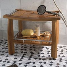 Spa Teak Shower Bench with Shelf - need this in a shower that doesn't have built in bench - seat to shave legs :-)