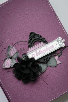 Bonjour ! Voici mon mini album « Moment Authentique »! Des Bazzills « Velvet, Raven, Heidi, White et Flintstone » et pleins de tampons Florilèges Design …