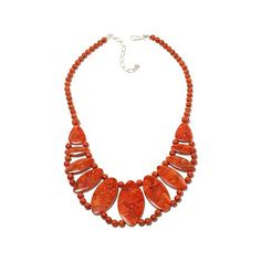 "Jay King Orange Coral Sterling Silver 17-1/2"" Necklace"