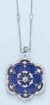 AN ENAMEL AND DIAMOND PENDANT NECKLACE The blue guilloché pendant, decorated by old European-cut diamond accents and trim, suspended by a similarly-set ribbon bow bail, to the diamond collet fine link neckchain, mounted in platinum