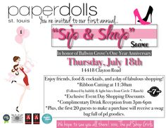 """""""Sip & Shop"""" Soiree-In honor of Ballwin Grove's One Year Anniversary Celebration!"""