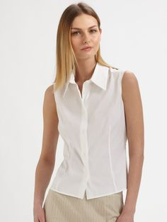 Piazza Sempione Sleeveless Blouse In White
