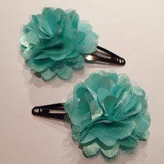 Aqua Pom Pom Flower Mesh Satin Tulle Hair Snap Clip. on Etsy, $6.00