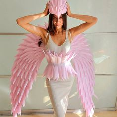 """""""Halloween wings"""" Halloween Wings, Halloween Costumes, Angel Wings Costume, Angel Images, Dress Up, Cosplay, Photoshoot, Fashion Outfits, Pink"""