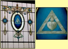 """The Jesuit symbol and motto """"IHS"""" on a Masonic temple's stained-glass window. http://amazingdiscoveries.org/albums/a/2/Masonry"""