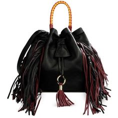 Sara Battaglia Jasmine Fringed Leather Bucket Bag (5.440 RON) ❤ liked on Polyvore featuring bags, handbags, shoulder bags, black, leather bucket bag, bucket bag, leather purse, leather shoulder bag and leather fringe purse