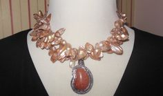 Statement Necklace  Taupe Cultured Freshwater by CopperTowneGems, $89.00