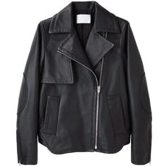 Alexander Wang Leather Motorcycle Jacket ($798) ❤ liked on Polyvore featuring outerwear, jackets, coats, leather jacket, flap jacket, zipper jacket, collar leather jacket, zip jacket and real leather jacket