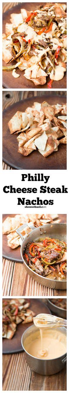 The BEST nachos ever! Philly cheese steak nachos on ohsweetbasil.com.