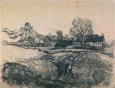 Most famous for his post-impressionist paintings, Vincent van Gogh also produced over a thousand drawings. In this pen and pencil line drawing, 'Cottages With a Woman Working in the Foreground', we see the stylistic swirling of line in the trees and clouds that is so characteristic of his well-known paintings. Capturing the swirling of the trees and the movement of the clouds, van Gogh represents the light falling across the textured landscape with quick, confident mark-making.