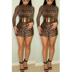 USD11.99Fashion O Neck Long Sleeves Leopard Polyester One-piece Skinny Jumpsuit(Without Belt)