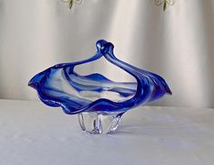 Vintage Art Glass Basket Leaded Crystal Cobalt Blue Glass