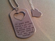 Hand Stamped Winnie the Pooh Quote His and Her Dog Tag Set-Military Couple, Deployment Set. $45.00, via Etsy. So cute!!
