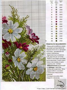 Cross Stitching, Cross Stitch Embroidery, Cross Stitch Patterns, Cross Stitch Flowers, Fashion Sewing, Crochet Flowers, Floral, Yandex Disk, Daisies