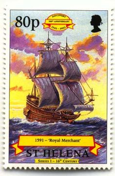 Vaisseau Royal Merchant Classic Sailing, Old Stamps, Going Postal, St Helena, Penny Black, Tall Ships, British History, Stamp Collecting, Water Crafts