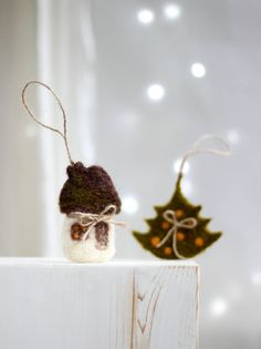 Needle Felt Christmas Ornaments Set Green by FeltArtByMariana