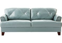 Shop for a Cindy Crawford Home  Eden Place Seafoam Leather Sofa at Rooms To Go. Find Leather Sofas that will look great in your home and complement the rest of your furniture.