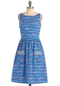 Little Buoy Blue Dress - Mid-length, Red, White, Novelty Print, Pockets, Sleeveless, Party, Casual, Nautical, Vintage Inspired, Multi, Blue, A-line