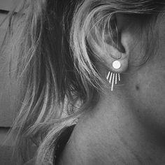 Moonbeam V profond oreille vestes et pleine lune Stud Combo - argent Sterling - paire de boucles d'oreilles et de vestes - boucles d'oreilles avant ensemble