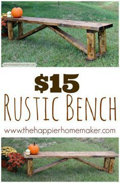 Hometalk :: $15 DIY Rustic Bench. you have to follow a million links, but eventually end up at Ana White's site with the building plans.