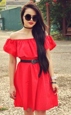 Red Off The Shoulder Frills Wrinkle Ruffle Dress