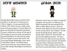 President's Week Activity   George Washington Vs Abraham Lincoln