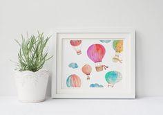 PRINTABLE Art Watercolor Hot Air Balloon by WishfulPrinting