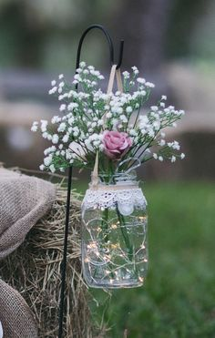 2 Hanging Mason jars with garden stand for wedding aisle includes flowers and li… - Decoration Jar Centerpieces, Wedding Centerpieces, Wedding Table, Diy Wedding, Wedding Ceremony, Rustic Wedding, Wedding Flowers, Wedding Decorations, Wedding Desert