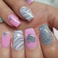 49 Fabulous Pink Nail Art Designs Ideas That Looks Cool - Nail Art Saint-valentin, Pink Nail Art, Cute Acrylic Nails, Pink Nails, Red Nail, Nail Nail, Nail Black, Ombre Nail, Blue Nail