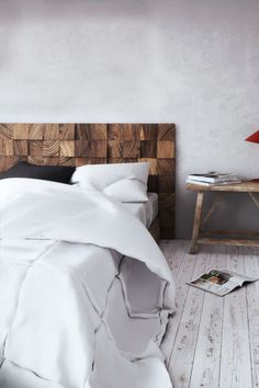 Fantastic headboard idea!  Would like to see it with a timber on top to create shelf space. color!!!