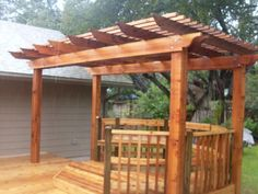 Patio Arbor Design   ... of New Custom Designed Cedar Deck Arbor with Benches and Deck Railing