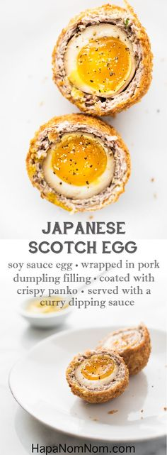 Creamy soy sauce marinated egg, wrapped in a delicious pork dumpling filling, and coated with super crispy panko, and dipped in a curry-mayo sauce. Mind blown!
