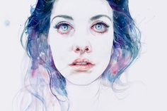November 2013 ☞ Painting ☞ as known as Agnes-Cecile. Silvia Pelissero was born in Rome. She is an Italian painter best known as agnes-cecile. She went in an art. Watercolor Art Face, Watercolor Art Paintings, Watercolor Portraits, Abstract Watercolor, Agnes Cecile, Art Magique, Couple Travel, Illustration Art, Illustrations